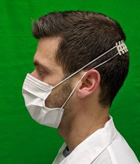 Ear saver worn here to show how it alleviates the pressure on the back of the ears from wearing mask all day