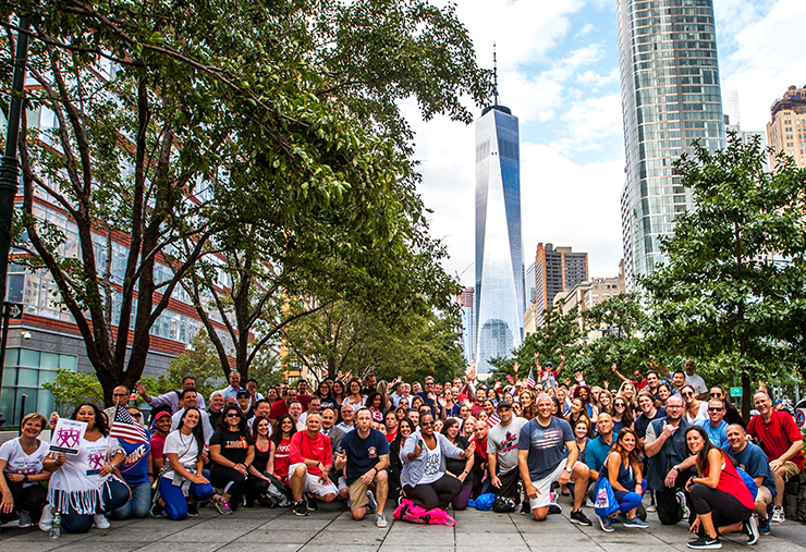 Employees in front of Freedom Tower