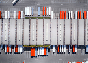 looking at a truck depot from above