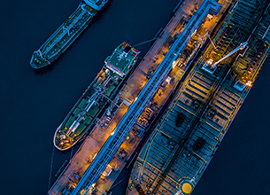 looking down at shipping barges from above